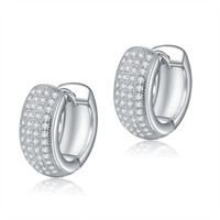 Wholesale ORSA New Arrival Small Circle Silver Earring Micro Zircon Crstal Paved Earring for Ladies OE100