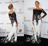 Wholesale 2015 Sexy Vintage Sheer Long Sleeves Black White Evening Dresses Mermaid Lace Court Train Celebrity Red Carpet Prom Pageant Gowns