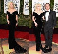 Precio de Alfombra roja del hombro fuera-The 73rd Golden Globe Awards 2016 alfombra roja celebridad vestido Lady Gaga negro terciopelo sirena formal vestido de noche de hombro vestido de fiesta