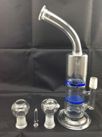 Wholesale 2015 High Quality Glass Bongs New Recycler Glass Bong With Bowl And Oil Riig Glass Water Pipe Titanium Nail cm Blue Clear Hookahs
