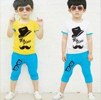 Cheap 2015 Summer Child Casual Outfits Children Boys Cotton Short Sleeve T-shirt + Middle Pants Haren Pants 2pcs Kids Clothes Boys Set Suit Outfit