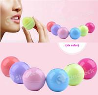 Wholesale Round Ball Lip Balm Fruit Flavor Natural Organic Plant Embellish Sphere Lip Balm Makeup Smooth MoisturizingFree DHL UPS Factory Direct