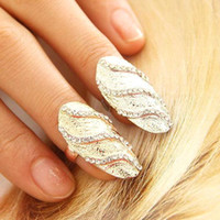 nail jewelry - 2015 New Fashion Crystal Rhinestone Waves Gold Silver Finger Nail Rings Exquisite Jewelry Women Daily Party Decooration Accessories CPA288