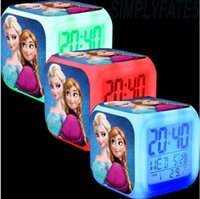 Wholesale 20pcs Free shpping DHL New LED Colors Change Digital Alarm Clock Frozen Anna and Elsa Thermometer Night Colorful Glowing Clock DH04