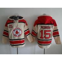 Wholesale Pedroia Baseball Hoodies Red Sox Baseball Hoodies Men Beige Baseball Sweaters Baseball Hoodies Warm Baseball Jackets Big Sale