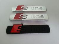 Wholesale Metal S Line Car Badge Chrome Side Emblem Size cm For Audi A1 A3 A4L A6L A8L Q5 Q7 TT Car Body Auto Sticker Sline