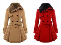 leather trench coat - Women s Fashion Warm Winter Thick Wool Faux Fur High Quality Lapel Double breasted Thick Wool Trench Coats OXL8607