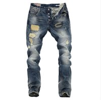 Wholesale Men Ripped Straight Jeans Denim Trousers Robin Jeans For Men High Quality RePlay Blue Hole Jeans mens skinny Jeans Designer true jeans