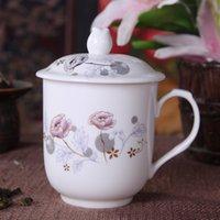 Gros fleur de thé, tasses à thé en céramique, Kung Fu tasse de thé, avec couvercle, Bone China porcelaine, bureau tasse de thé 280ml, 4 optionnel style ~