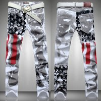 Wholesale 2015 Brand New Mens Fashion American Flag Print Classic Jean Long Pants Trousers Denim Overall Men Casual Slim Fit Jeans