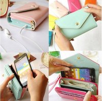 Cheap Hot Sell Women Korean Lovely envelope Purse Wallet Case for Samsung Galaxy S3,S2,Iphone 5 5S ,4S 4,6S 6