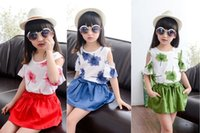 Cheap 2015 girls korean suit kids girl maple leaf printing shirt and short skirt with bowknot & pocket 2 pcs set suits J051206# DHL