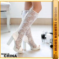 Cheap New Arrivals 2015 Women Sexy Thick High Heels Cutout Lace Uppers Knee High Summer Boots Charming Open Toe Platform Casual Shoes