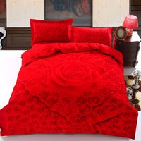 Cheap Red 3D Romance Roses Printing Bedding Set 4pcs Cotton Bed Linen for Wedding Quilt   Duvet Cover 200x230 Flat Sheet 250x250cm Queen Size
