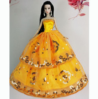 Wholesale 2015 New Luxury Lovely Orange Handmade Fashion Wedding Gown Dresses Party For Princess Doll Xmas Gift