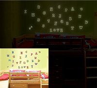 Wholesale Shine in the night of the kids wall stickers Fluorescent wall stickers DIY The English letters wall stickers bedroom setting wall stick