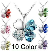 pendant flower rhinestone - Fashion Romantic Austria Crystal Clover Flower high quality Pendant Necklace multi color necklace color options a445