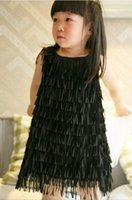 Wholesale Z O latin tassel dance dress child Baby Girls Fairy Tassel Dresses Princess Solid Fashion Summer Wear