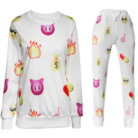 jogging suits - 2015 new men women s sport jogging suits print emoji fashion tracksuits sweat shirt pants clothing set joggers