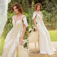 Cheap 2015 2014 New Beach Wedding Dresses Bridal Gown With Button Short Sleeve Plunging Neckline Sexy Open Back Court Train Lace And Chiffon