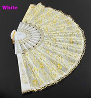 Wholesale 1Pc Golden Lace Flower Decor Spanish Hand Fan Wedding Dancing Hem Night Party Colors