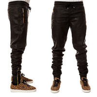 leather joggers - Top Quality Mens Leather Skinny Pants Gold Zipper Hip Hop Pants Trackpants Perfect Fit Slim Motorcycle Leather jogger Pants EUR Size