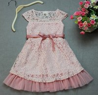 Wholesale 10pcs DHL Fashion Designer Girls Dresses Pink Lace Top With Gauze Hem And Belt Children Summer Casual Clothing Cheap KR03