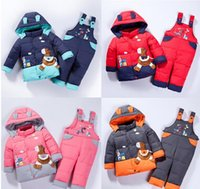 baby horse clothing - Baby Children boys girls winter warm down jacket suit set thick coat jumpsuit baby clothes set kids jacket animal Horse fish Infantil A1