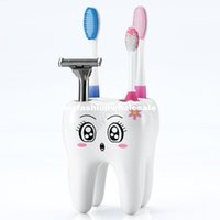 Wholesale 2014 Fashion Hole Cartoon Holder Tooth Style Brush Shelf Cartoon Toothbrush Holder Toothbrush Container
