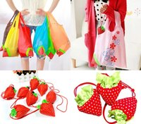 Wholesale Lovely Portable Strawberry Shopping Bag Folding Reusable Compact Eco Environment Friendly Handbag Mix Color Choose ZXK