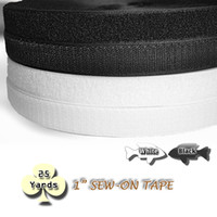 Wholesale 25yards pack inch Sew On Hook and Loop TAPE Black White Closure gripper tape fastener for fabric craft sewing repairs