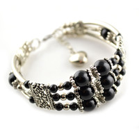 agate bangle - Grade AAA Black Onyx Fashion Women Bangles Layers Agate Adjustable Bracelets