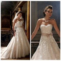dresses new york - Stella York New Design Sweetheart A Line Wedding Dresses Lace Appliques Bowknot Waistband A Line Bridal Gowns Country Bridal Dress