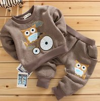 Wholesale Hot Selling Winter Boys Girls Outfits Child Lovely Owl Bike Pattern Thicken Pullover Kids Cotton Casual Long Harem Pants E1498