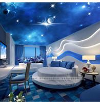 Wholesale D stereoscopic large living room ceiling mural bedroom zenith woven wallpaper KTV Star Star Custom Size