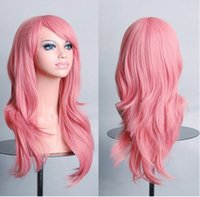 animations french - Wave of wigs on fashion sweet and lovely girl non mainstream curl centimeters long high temperature wire material pink animation wig