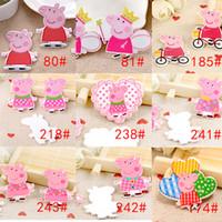 Wholesale Kawaii cartoon flat back planar resin pink pig Figurine fairy garden decoration craft DIY bow hair accessories