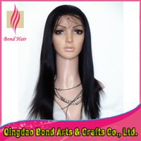 hand tied full lace wig - High quality quot Full Lace Wigs Indian Remy human hair Yaki straight lace front wigs Natural color hand tied lace wigs density