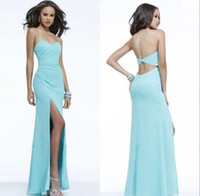 Cheap 2015 Backless Chiffon Sheath Prom Dresses Sweetheart Neck Floor-Length Draped Split Side Party Formal Bridesmaid Dress Gowns Cheap Under 50