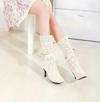 Wholesale New Spring And Fall Ivory Lace Half Boots With Low Heel Women Wedding Shoes Cheap On Sale WY126