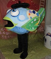 aquarium s - with mini fan inside the head aquarium blue fish mascot costume for adult to wear for adult