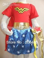 Wholesale Halloween Party years girl s three piece Wonder woman play short skirt kid Wonder woman Role playing kid GHOST cosplay