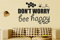 bee wall decor - Dont Worry Bee Happy Vinyl Quote Wall Decal Sticker Wall Art Home Decor