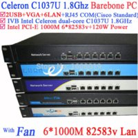 Wholesale Network server firewall router barebone U with Celeron C1037U support ROS Mikrotik PFSense Panabit Wayos Monowall hi spider etc