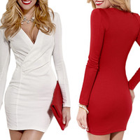 Wholesale S5Q Women s V Neck Club Dresses Stretch Bodycon Night Out Skirt Lady Sexy Slim Evening Short Mini Dress AAAEBS