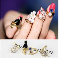 Wholesale 2015 Hot Crystal Black Cat Simulated Pearl Zircon Nail Rings Set For Women Anillos Resizable infinity midi Knuckle Ring set