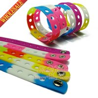 silicone shoes - Hot New DHL OR EMS Mixed MOQ Colors CM OR CM Silicone Bracelets Wristbands Charms Bracelets For Shoe Charms Party Gifts Favors