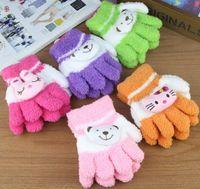 fleece gloves - Children Five fingers gloves kids Winter Coral fleece gloves boy girl gloves children s mittens pairs ST10