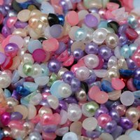 Wholesale Mixed Color Bead Decoration DIY Home Decor Flatback Acrylic Half Pearl Beads Flat Back Craft Scrapbooking