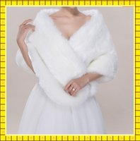 fur - New White Bridal Wraps High Quality Faux Fur In Stock Free Size Women Wedding Accessories Cheap Price Romantic Winter Wedding Coat Gown